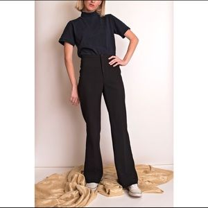 Vintage 80s black high waist wide leg trouser pant